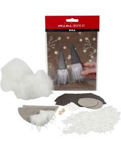 Creative mini kit, Scandinavische kerstkabouters, H: 12 cm, grijs, 2 stuk/ 1 set