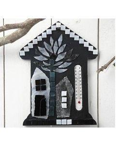 Thermometer huis met glasmozaiek