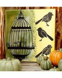 Art Canvas met vogels en een kooi