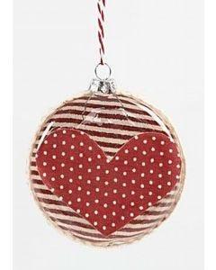 Platte kerstballen met stof