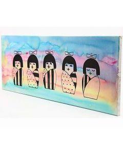Schilderij met Japanse Kokeshi poppen