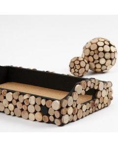 Dienblad met houten schijven