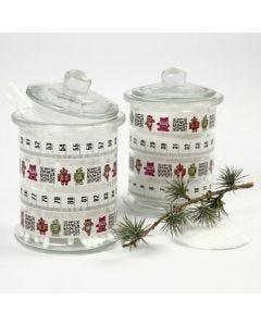 Glazen potten met masking tape