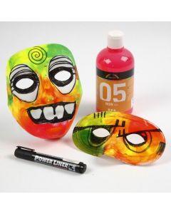 Een masker in neon kleuren