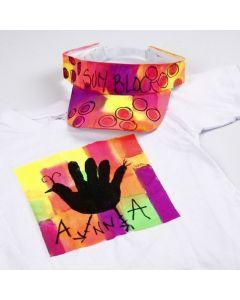 Neon Textil Color op een T-shirt en zonneklep