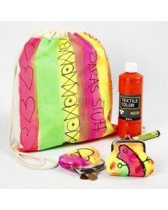 Een schoenentas en beurs geverfd in neon kleuren