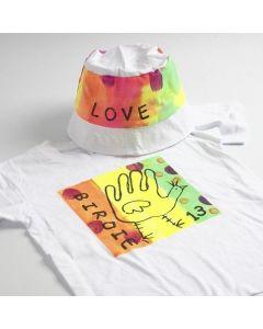 Neon Textile Color op een T-Shirt en zonnehoed