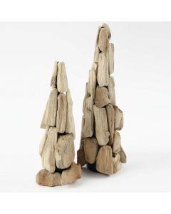 Een boom van kleine stukjes hout op een kegel