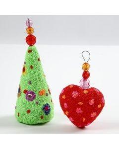 Styropor kerstdecoraties met Foam Clay en facetkralen