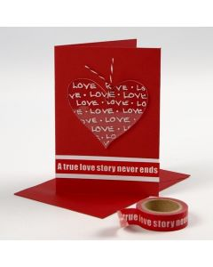 Een Valentijnskaart met een gedecoreerd hart van Plexiglas