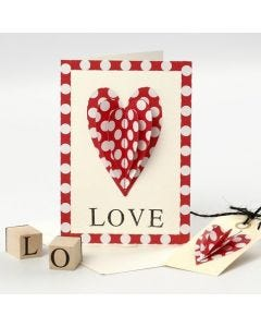 Een Valentijnskaart met opgenaaid hart