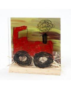 Een tractor in een 3D combinatie lijst