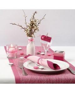 Roze en witte tafeldecoraties voor communieviering voor meisje