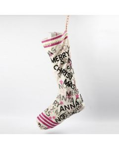 A large Christmas Stocking with stamped Designs and Drawings