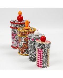 Papier-Maché dozen met decoupage, strass en kralen
