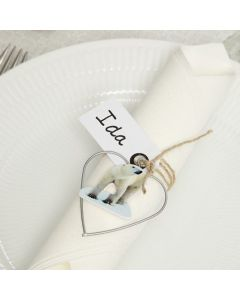 Place Cards with a Metal Heart and Wood Veneer Stickers