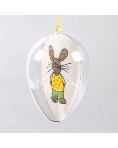 Een transparant ei met tekeningen