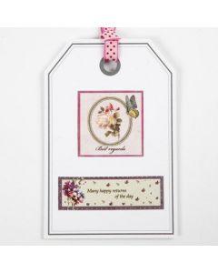Een ansichtkaart gedecoreerd met een geschenklabel