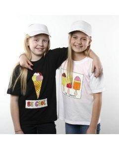 T-Shirts gedecoreerd met ijsjes van textielverf