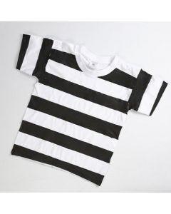 Gevangenis kleding gemaakt van een t-shirt met zwarte banen
