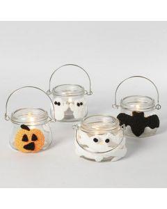 Lantaarns gedecoreerd voor Halloween met Silk Clay