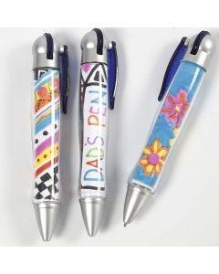 Pennen met tekeningen onder een transparante bedekking