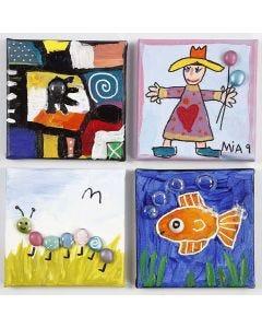 Schilderijen met vastgelijmde Glass Gems stenen op canvas