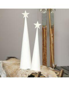 Een kerstboom van een wit-geverfde kegel met een glitter ster.