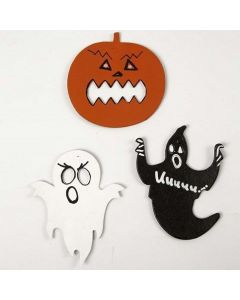 Kartonnen figuren voor halloween, geverfd en gedecoreerd
