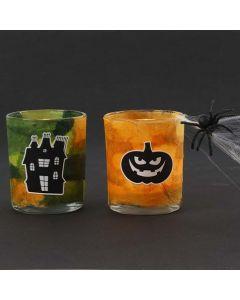 Theelicht kandelaars met strozijde papier en Halloween stickers