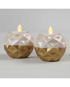 Terracotta kandelaar gedecoreerd met goud en parelmoer Art Metal verf