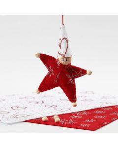 Stervormige kerstkabouter van vilt met glitter