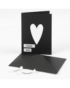 Wenskaart met hart en tekst gemaakt met DYMO label machine