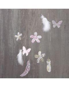 Hangende decoraties met veren op koperdraad