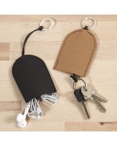 Kleine etui voor sleutels en hoofdtelefoons van leerpapier