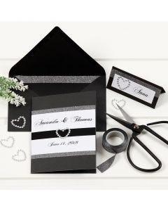 Zwarte huwelijkskaart met rand van design tape