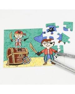 Een piraten puzzel gekleurd met colortime stiften