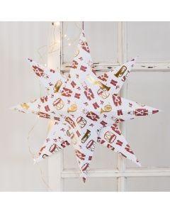 Grote ster gevouwen van design papier met notenkrakers