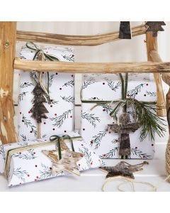 Geschenklabels van bast voor kerstverpakking