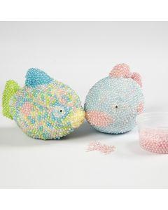 Styropor vissen gedecoreerd met Pearl Clay