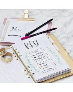 Sleutelpagina voor Bullet journal en planner