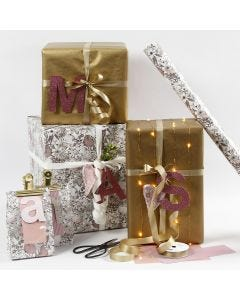 Rose en goud cadeaupapier met design letters