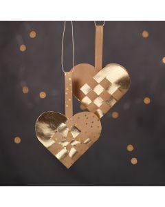 Gevlochten kerstharten van Faux Leather papier in naturel en goud