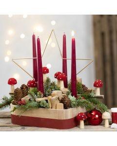 Adventskrans met metalen ster, paddenstoelen en andere houten decoraties