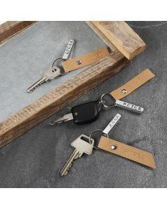 Sleutelhanger met metalen en Faux Leather labels