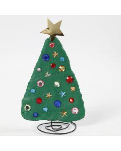 Kerstboom van bonsai draad en gipsgaas