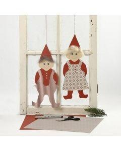 Kartonnen kerstkabouters, aangekleed in Vivi Gade Design