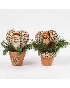 Kerstman Vintage Die-Cuts op harten in bloempotten