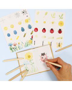 Leer bloemen en insecten tekenen in een natuurboek