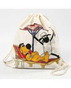 Shaun het Schaap tas met koord gedecoreerd met textielstiften